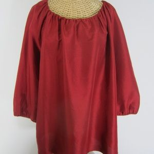 New Talbots Plus 1X Red Silk Peasant Shirt NWT